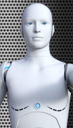 Ilustração de um robô apontando o dedo para a tela